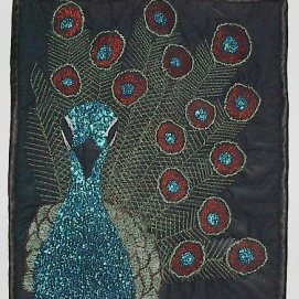 """Doc"" the peacock. My grandpa was a doctor and had peacocks, buffalo and deer on this farm. I made this during a thread painting class."