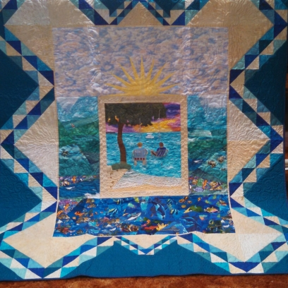 Picnic Island. I made this quilt to remember my trip to the Florida Keys with my son's boy scout troop.